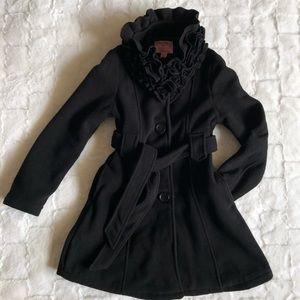 Girls black coat with belt size 10-12